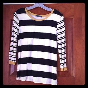 TART striped soft knit 3/4 length shirt